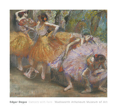 DANCE ART PRINT - Dancers with Fans, c. 1898 by Edgar Degas Ballet Poster 24x22