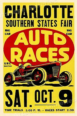 Charlotte Auto Races 1950's Vintage Style Car Racing Poster - 16x24