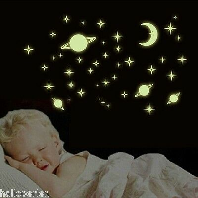 Glow In The Dark Luminous Space Planets Plastic Wall Stickers Decals Bedroom
