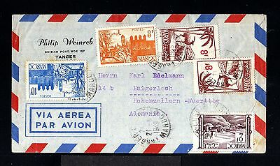 11640-MOROCCO-AIRMAIL COVER TANGER to HOHENZOLLERN(germany)1949.WW2.Maroc.FRENCH