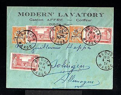 11641-MOROCCO-OLD COVER OUDJDA to SOLINGEN (germany)1924.Maroc.FRENCH colonies