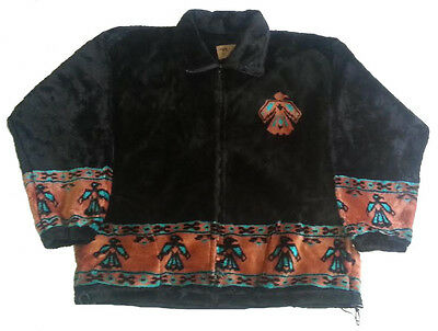 Thunderbird Brown Native American Plush Fleece Jacket (XL)