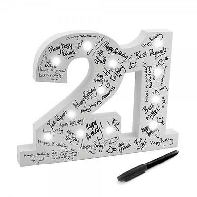 21st Birthday Gift Wooden Light Up LED Signature Block Boxed New LP29067