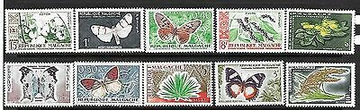 MADAGSCAR Sc 306-15 NH ISSUE of 1960 INSECTS Butterfly Plants