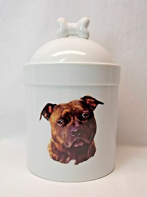 Staffordshire Brindle Bull Terrier Dog Porcelain Treat Jar Fired Head Decal