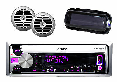 "New Boat Radio Kenwood iPHone iPod Input w/2 Silver 6.5"" Speakers, Splash Cover"