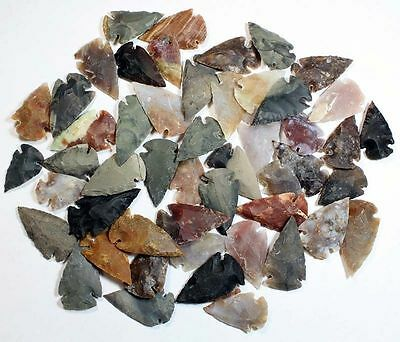 Collection Of 50 Stone Arrowhead Points... High Quality
