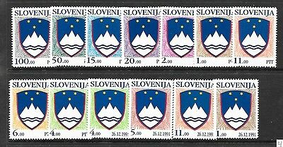 SLOVENIA Sc 101-14(NO 107) NH issue of 1991-92 - COAT OF ARMS
