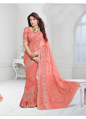 Party Wear Bollywood Replica Designer ORANGE Embroidery Bridal Saree - 6553