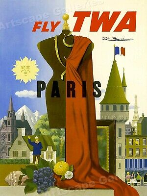 24x32 1950s Fly to Australia /& New Zealand Vintage Style Travel Poster