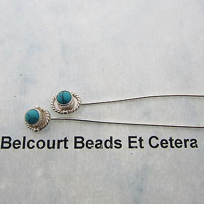 2 - 4mm Turquoise Genuine Stone Head Pins 50mm Length 20 GA Wire - 2 Inch Pins