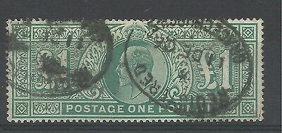 1902/10 Sg 266, £1 Dull Blue Green, Good used.