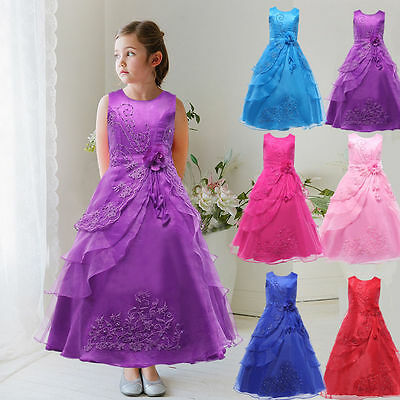 Kids Girls Tulle Bridesmaid Pageant Party Prom Formal Princess Cocktail Dress