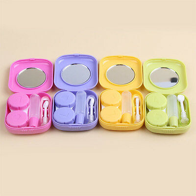 Pretty Contact Lens Case Travel Kit Mirror Pocket Size Storage Holder Container