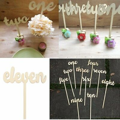 1-12 Wooden Table Numbers set Freestand Stick Wedding Birthday Party Decoration