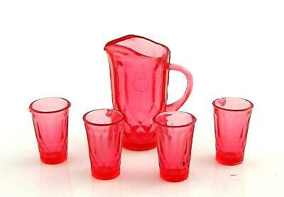 Dolls House Cranberry Jug & Glasses Pitcher Tumblers Miniature Dining Accessory