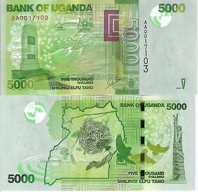 UGANDA 5000 shillings Banknote World Paper Money UNC Currency BILL p51 Note