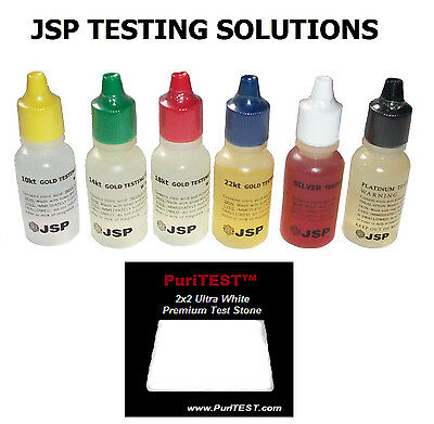 6 Gold Testing Acid Jewelry Test Kit 10K 14K 18K 22K SILVER PLATINUM 999 925
