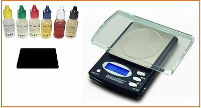Electronic 600g/0.1gram/Troy oz Scale + Gold/Silver Acid Test Kit Jewelry Tester