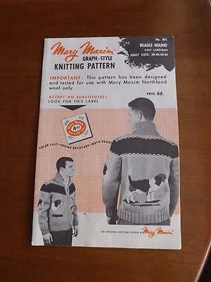 Mary Maxim Knitting Pattern 501 Graph Style Beagle Hound 4 Ply Cardigan Adult