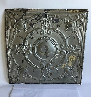 "1890's 24"" x 24"" Antique Reclaimed Tin Ceiling Tile Silver Metal Anniversary B61"