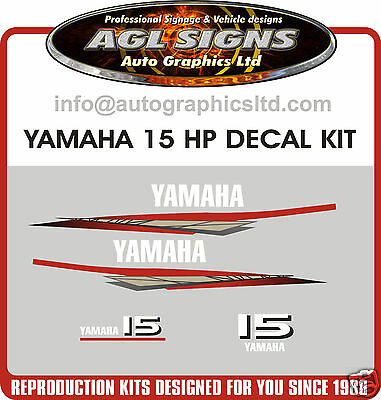 Yamaha 15 Hp  Decal Kit, Outboard Reproduction