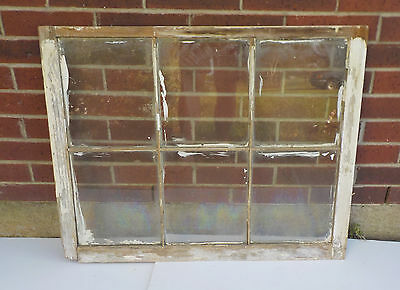"ANTIQUE WOODEN 6 PANE OLD WINDOW SASH OLD WITH GLASS 34"" x 27 1/4"""