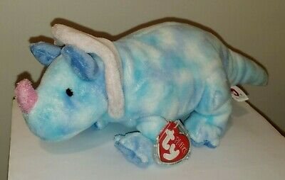 Ty Pluffies ~ TROMPS the Triceratops Dinosaur ~ MWMTS ~ Stuffed Animal Toy Plush