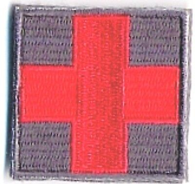 Grey Gray ACU Medic Red Cross Paramedic Patch VELCRO® BRAND Hook Fastener Compat