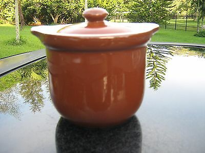 """Hall Brown Pottery  COVERED POT  WITH LID # 472  4"""" TALL VERY GOOD CONDITION"""