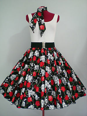 """ROCK N ROLL/ROCKABILLY """"Sculls & Roses"""" SKIRT-SCARF S-M Black/Red/White."""