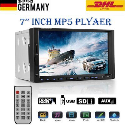 Universal 7'' Car 2 Din Bluetooth Auto Radio Touch Screen FM/MP5/MP3/USB/SD/AUX