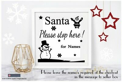 Vinyl sticker DIY CHRISTMAS BOX FRAME GIFT SANTA PLEASE STOP HERE - personalise