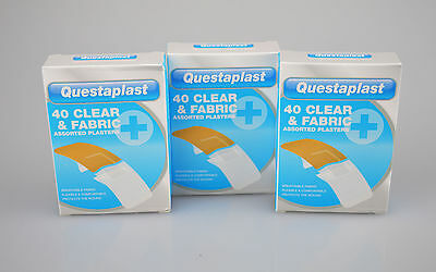 Plasters Clear Fabric Assorted Cuts First Aid Pack of 120 Wound Home Office