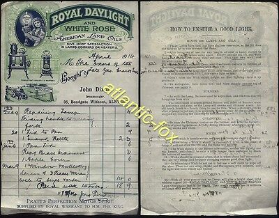 1914 ROYAL DAYLIGHT & WHITE ROSE AMERICAN LAMP OIL advert on J DIXON, ALNWICK