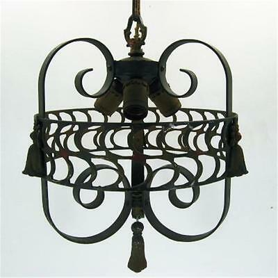 Arts Craft Gothic Revival Iron Hanging Light Fixture Hammered Canopy Cast Tassel