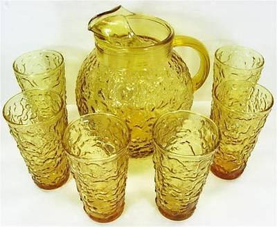 Anchor Hocking Lido Milano Honey Gold Pitcher 7pc Set 12oz Glass Tumblers 5.5in