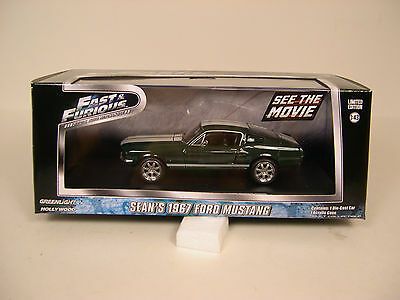 Fast & Furious Green 1967 Ford Mustang Greenlight 1:43 Scale Diecast Metal Car