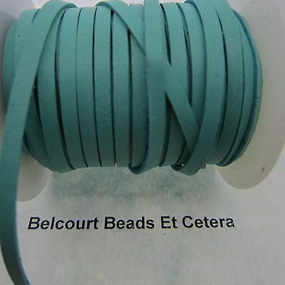 """10' Deer Leather Turquoise Lacing 1/8"""" Wide  Real Leather Crafts Made in USA"""