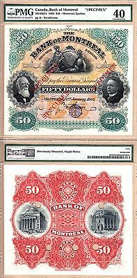 Utmost Rarity: **Double Size** 1903 $50 Bank of Montreal Specimen Note PMG EF40