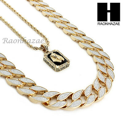 "Iced Out Miami Cuban Link 30"" Chain / King-Tut Pendant 24"" Rope Necklace Set C37"