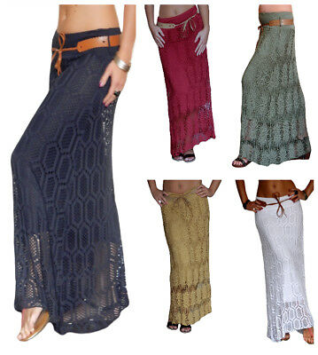 Ladies Maxi Skirt Long Womens Midi Jersey Crochet Lace Party Size 8 10 12 14