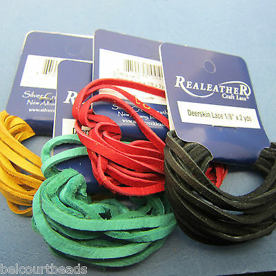 4 Packs Deerskin Leather Lace Real Leather 2 Yards 4 Colors  Red Gold Black Blue