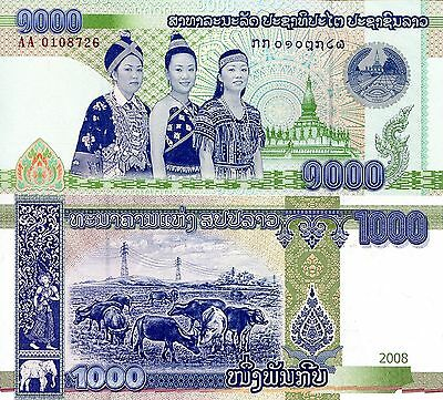 LAOS 1000 Kip Banknote World Paper Money UNC Currency Asia BILL p39 Note
