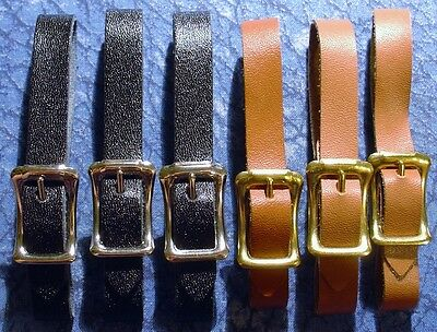 3 Black & 3 Brown New 3/8 in. Leather Pocket Watch Fob Straps