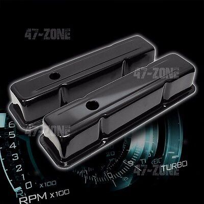 Steel 1958-86 Chevy Sb 283 305 327 350 400 Tall Valve Covers Smooth - Black
