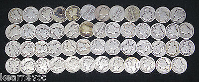 1919 Mercury Dimes Average Circulated Full Roll 50 Silver Coins