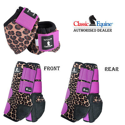 Large 6 Pack Classic Equine Front Rear Sports No Turn Bell Boots Horse Cheetah