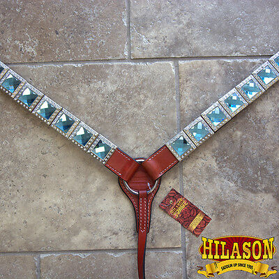 Hilason Western Leather Horse Breast Collar Mahogany Bling Concho Turquoise