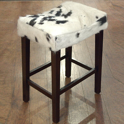 Western Genuine Leather Cowhide Hair On Wooden Leg Saddle Bar Stool